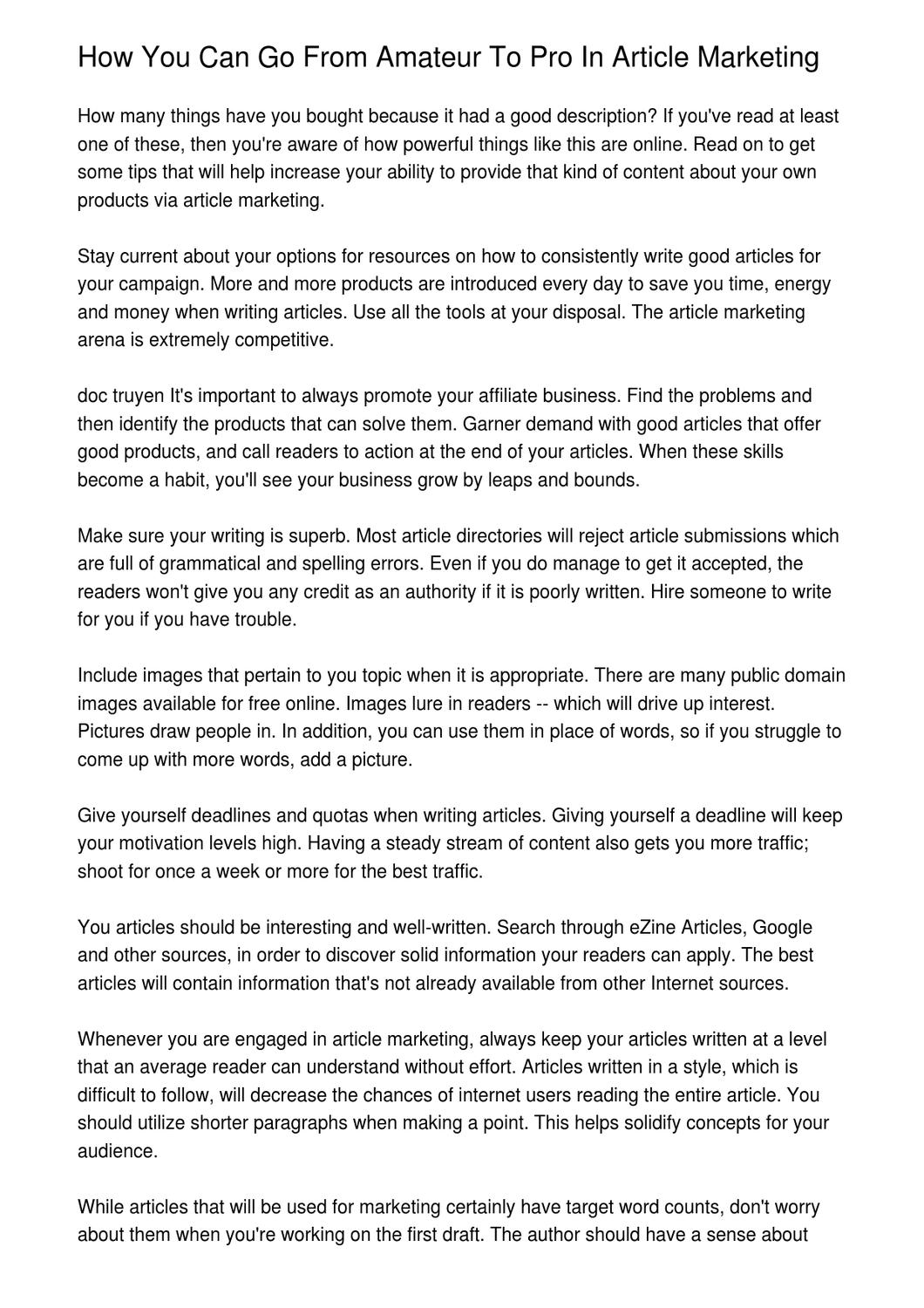 How You Can Go From Amateur To Pro In Article Marketing by Bor Espersen -  issuu
