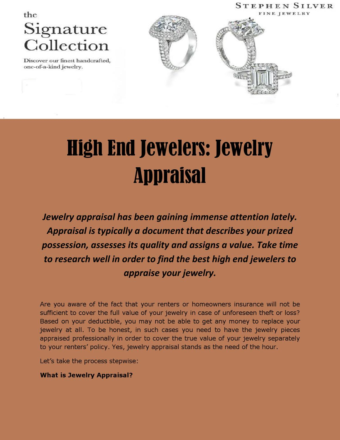 High end jewelers jewelry appraisal by norah willis issuu for How do you get jewelry appraised
