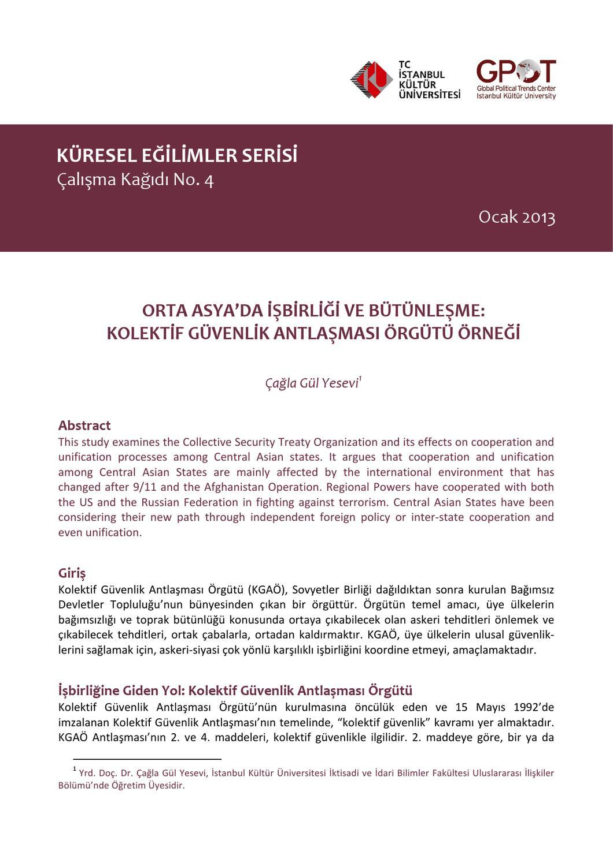 Orta Asya Da Isbirligi Ve Butunlesme Kolektif Guvenlik Antlasmasi