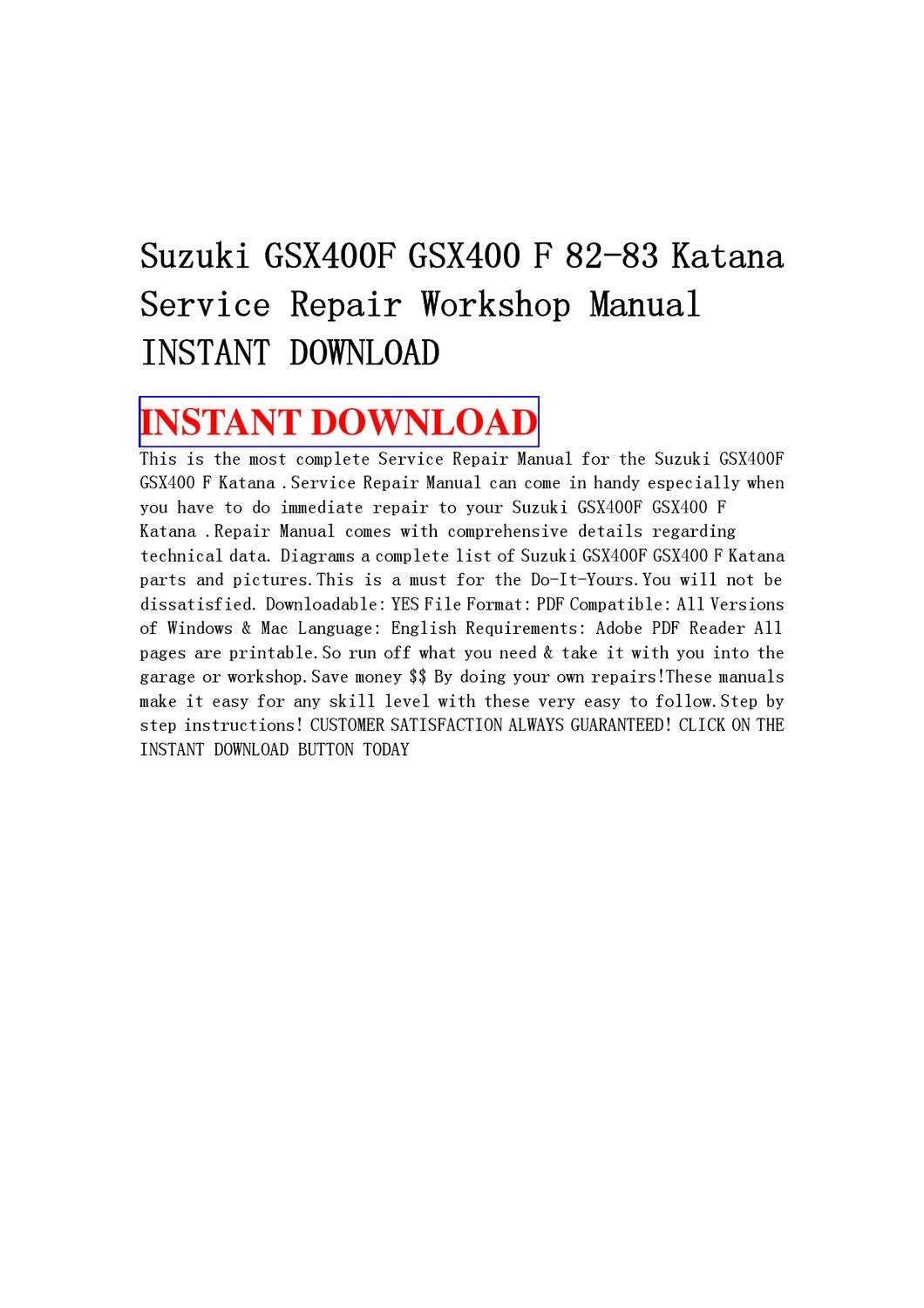 Suzuki GSX400F GSX400 F 82-83 Katana Service Repair Workshop Manual INSTANT  DOWNLOAD by sdf saf - issuu
