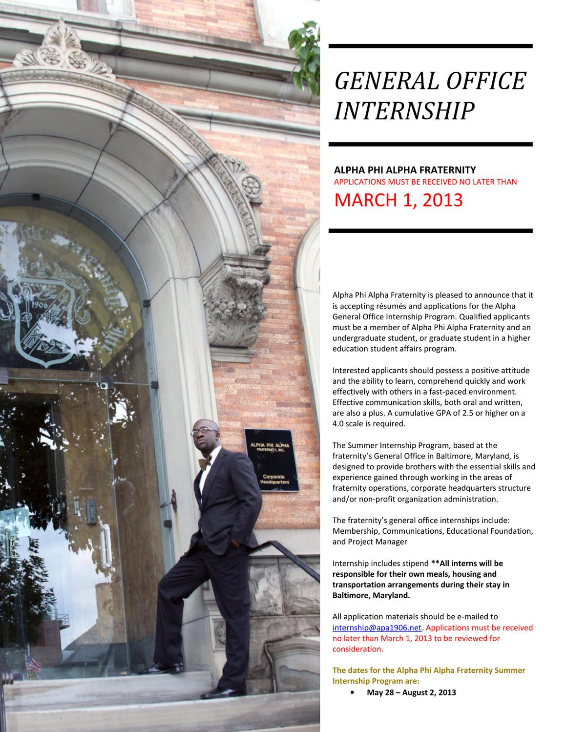2013 aphia general office internship application by alpha