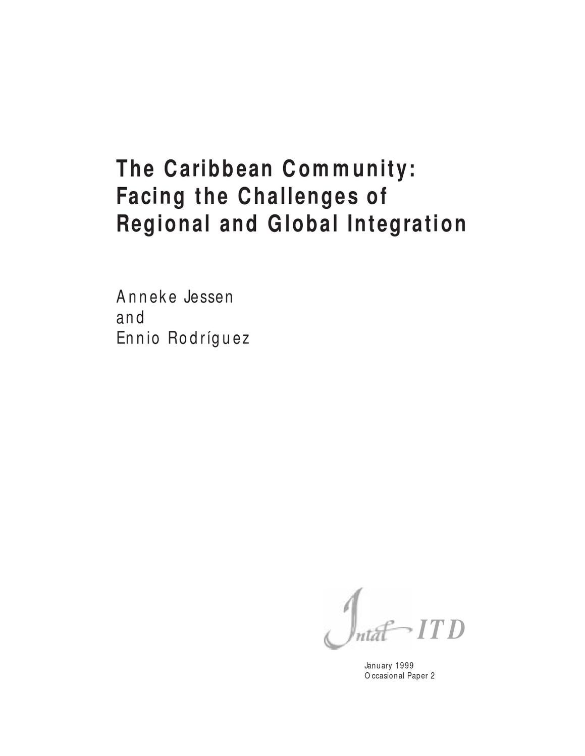 the caribbean community: facing the challenges of regional and global  integration