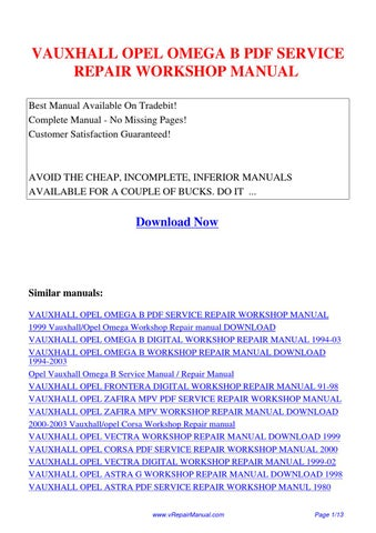 Vauxhallopelomegabservicerepairworkshopmanual by huang kung vauxhall opel omega b pdf service repair workshop manual best manual available on tradebit complete manual no missing pages fandeluxe Image collections