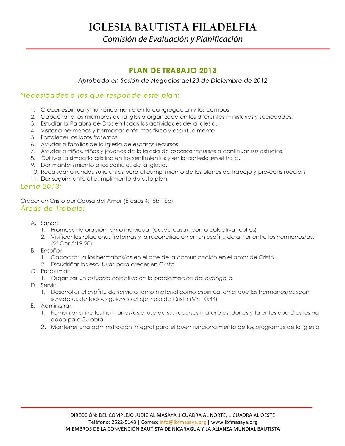 Plan de Trabajo 2013 by Iglesia Bautista Filadelfia - issuu