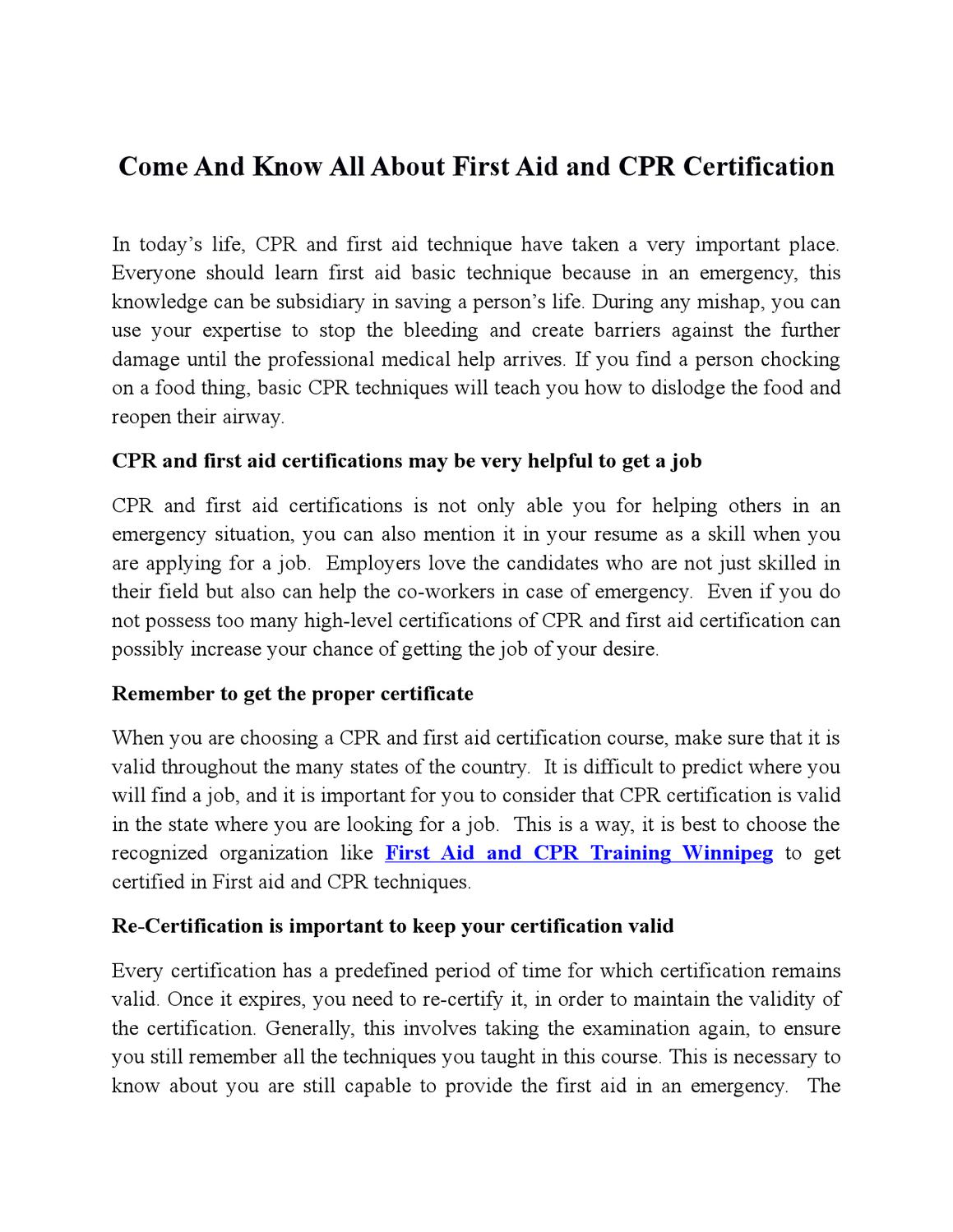 Come And Know All About First Aid And Cpr Certification By Cpr