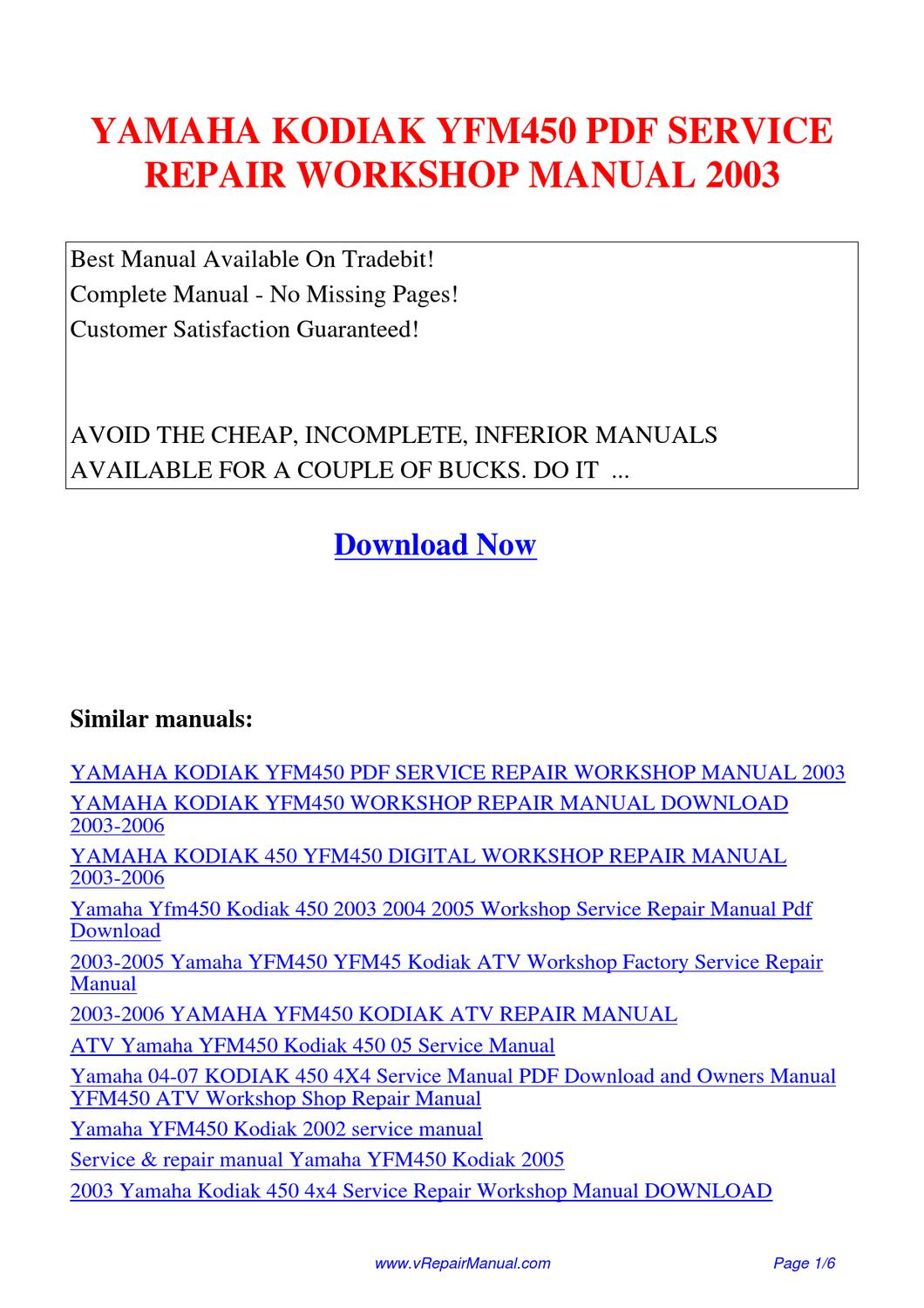 Yamaha Kodiak Yfm450 Service Repair Workshop Manual 2003 By Huang Kung