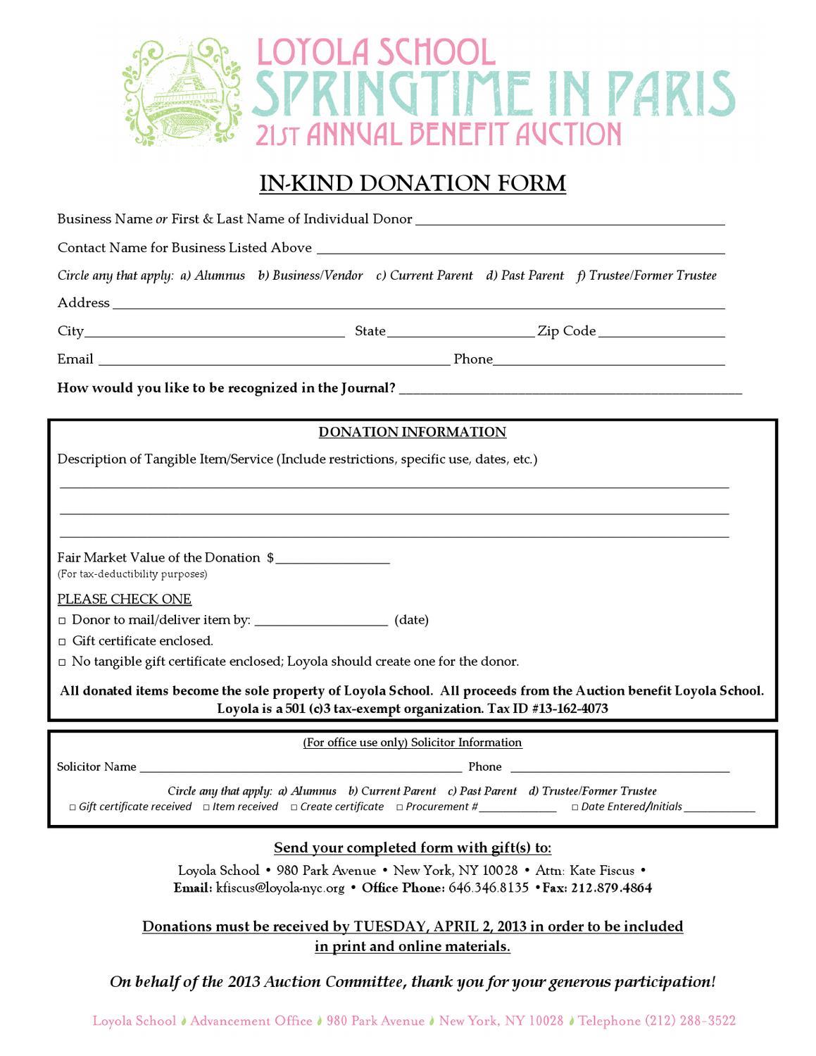 In Kind Donation Form By Loyola School Issuu