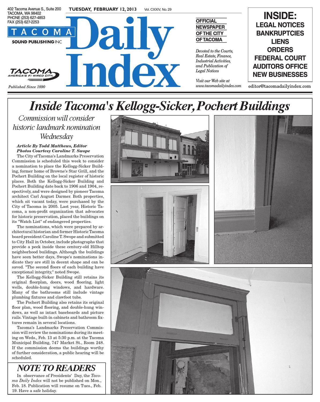 Tacoma Daily Index, February 12, 2013 by Sound Publishing - issuu