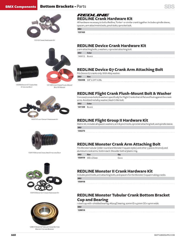 Redline BMX Crank Arm Attaching Bolt /& Washer For 3 Piece Cranks