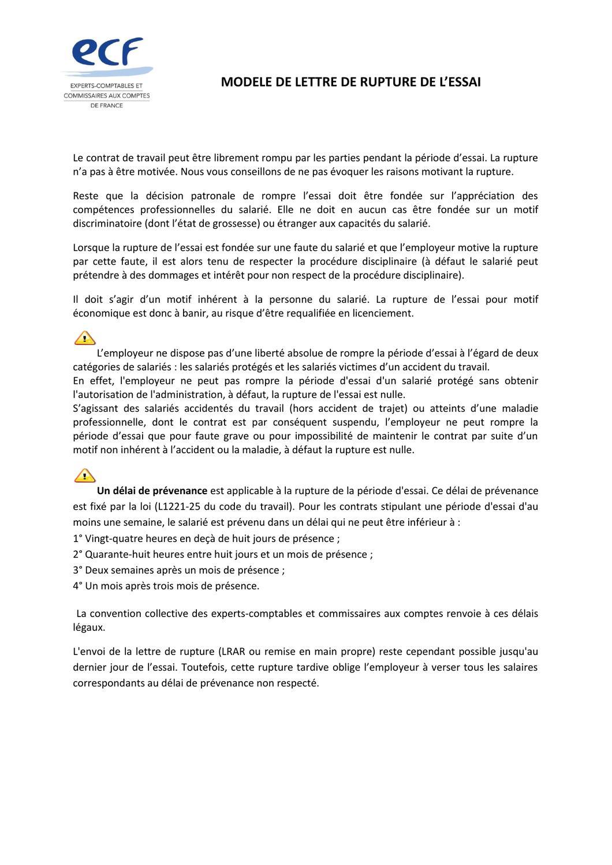 Rupture De L Essai Modele De Lettre By Louis De La Rochefoucauld Issuu