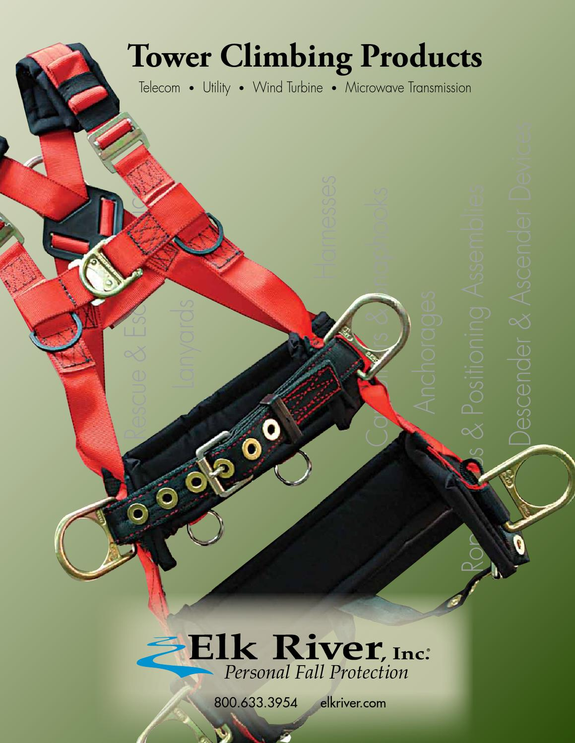 Elk River 75423 TowerMaster Polyester//Nylon LE 4 D Ring Harness with Tongue Buckles Large Inc