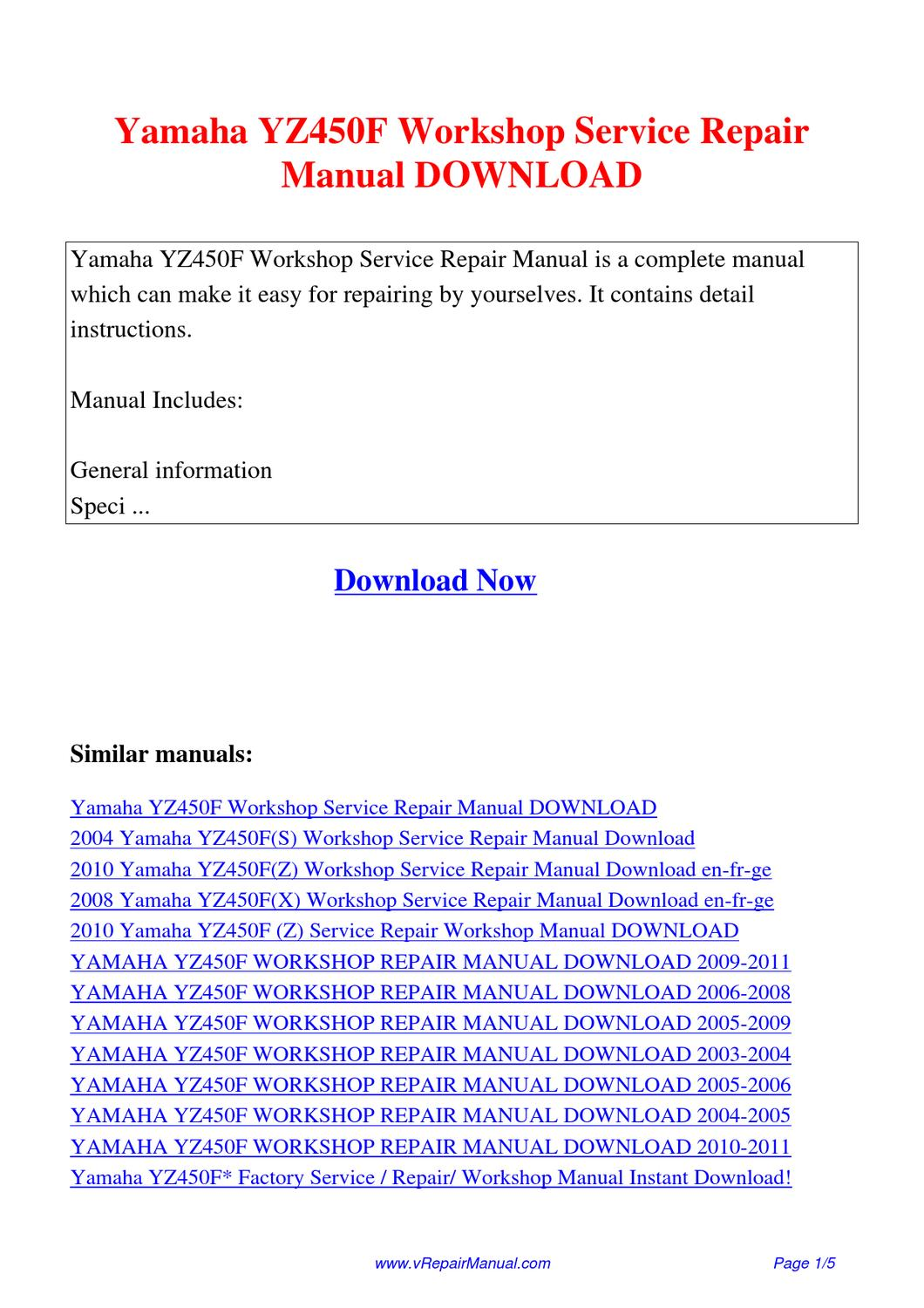 Yamaha yz450f(w) owner's service manual pdf download.