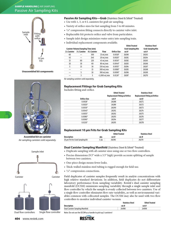 0.0018 Orifice Size Siltek Treated RESTEK 26288 Fitting for Grab Sampling Kit