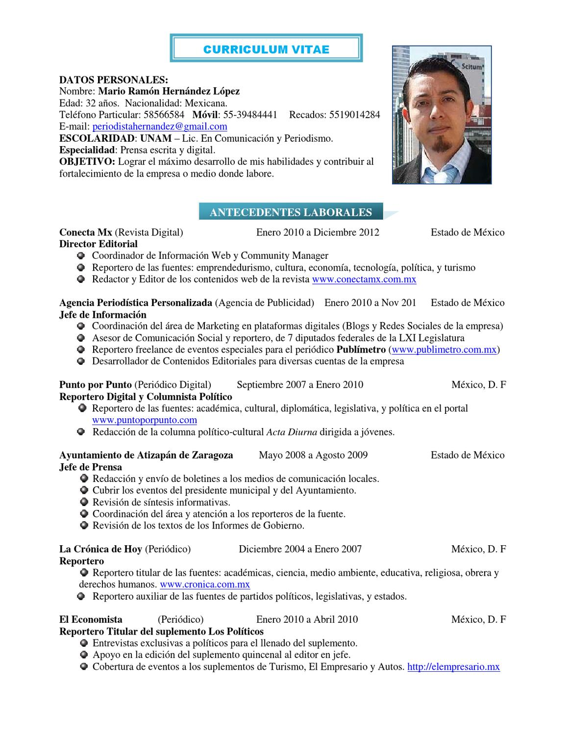 Curriculum periodista by Agencia Periodística Personalizada - issuu