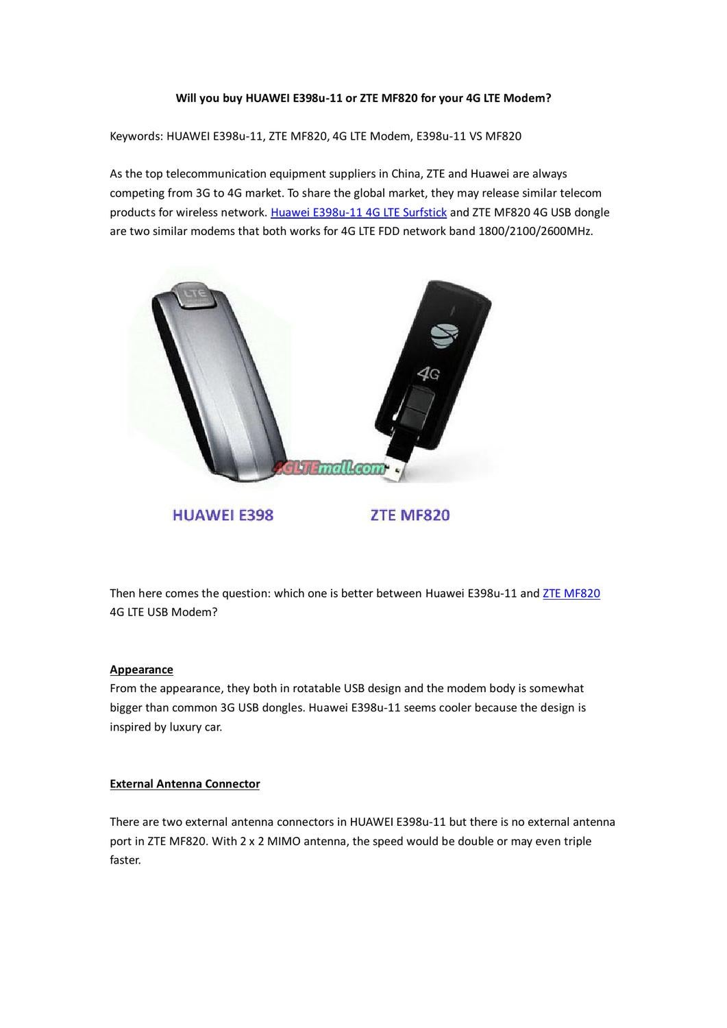 Will you buy HUAWEI E398u-11 or ZTE MF820 for your 4G LTE Modem? by
