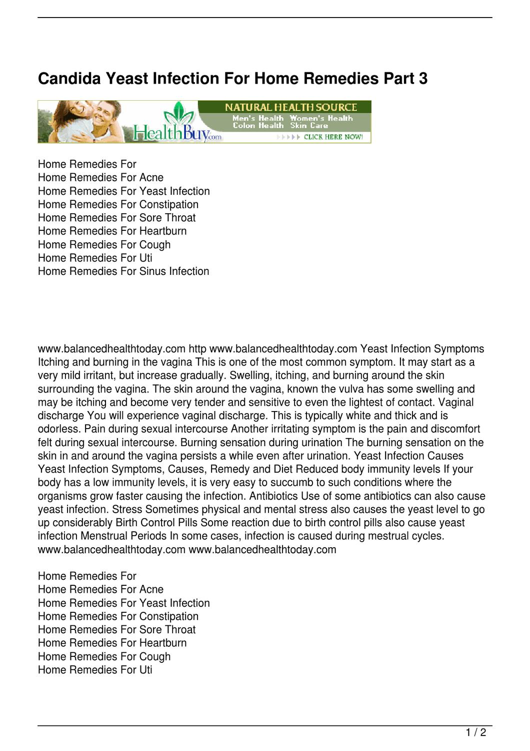 Candida Yeast Infection For Home Remedies Part 3 by John