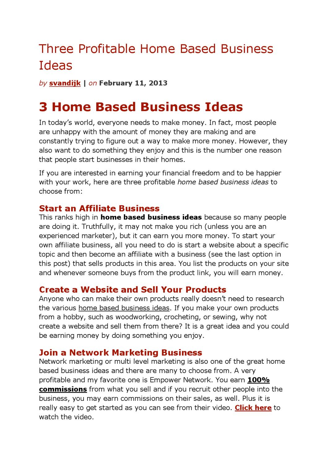 Three Profitable Home Based Business Ideas by Sander van Dijk - issuu