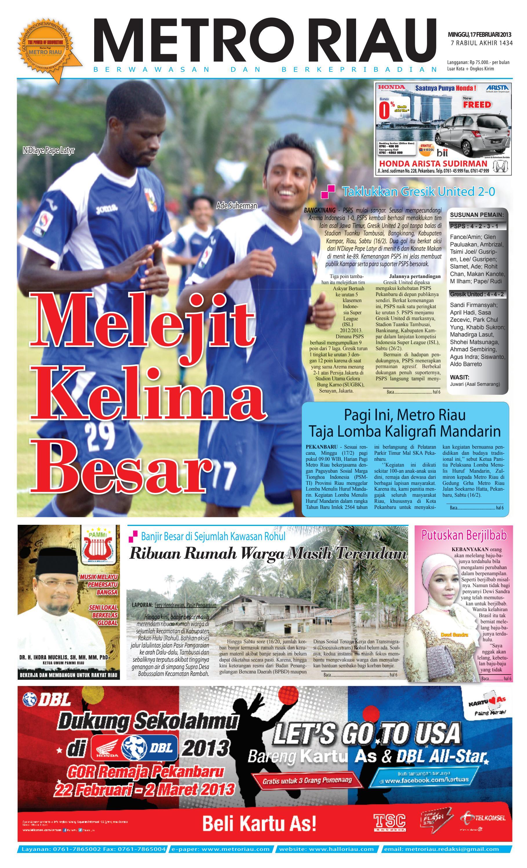 17022013 Metroriau By Harian Pagi Metro Riau Issuu Stand Hp Handphone Mount Docking Aksesoris Model Paus  Kcr009