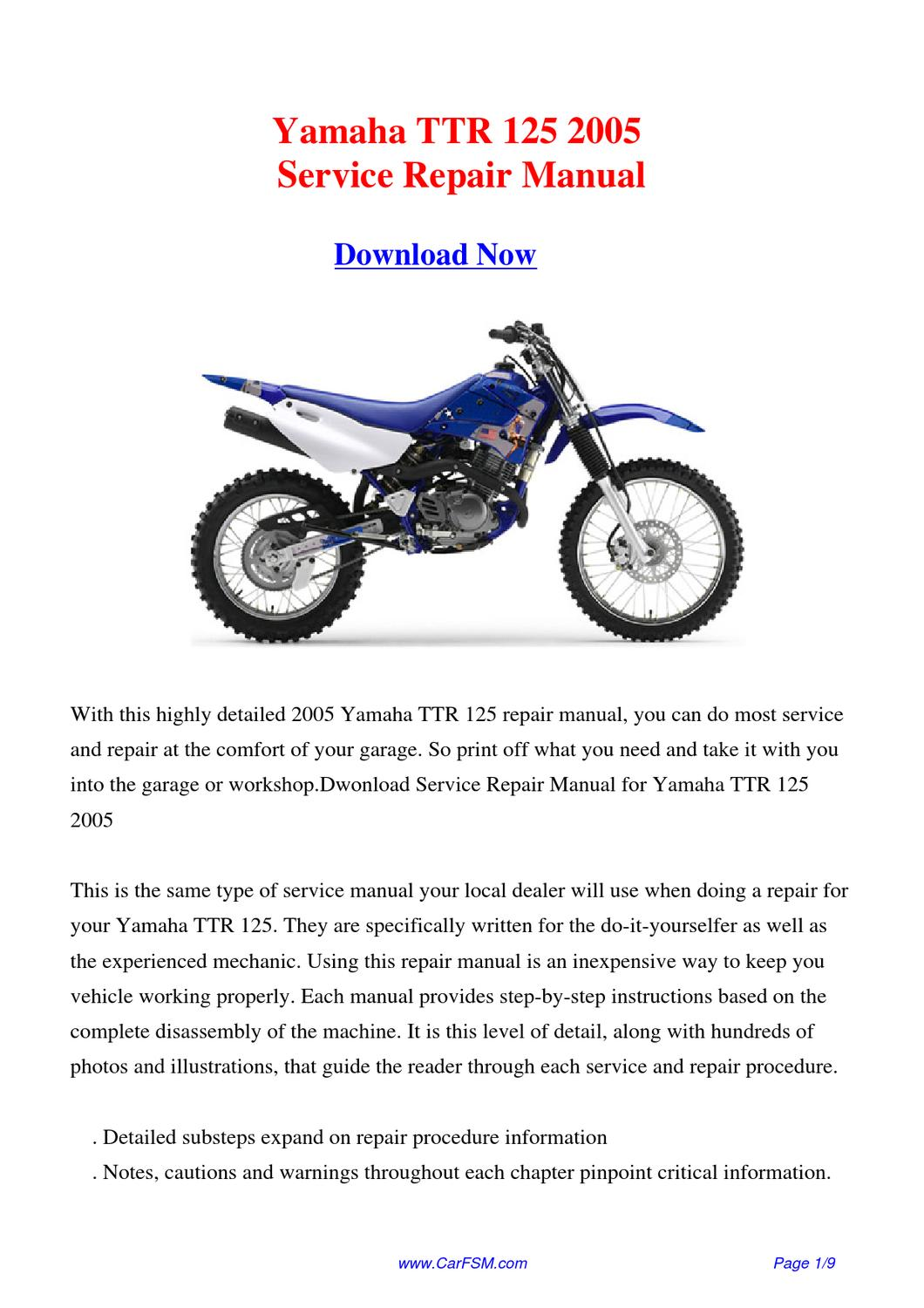 Yamaha ttr 125 2005 repair manual by gong dang issuu for Yamaha ysp 5600 manual