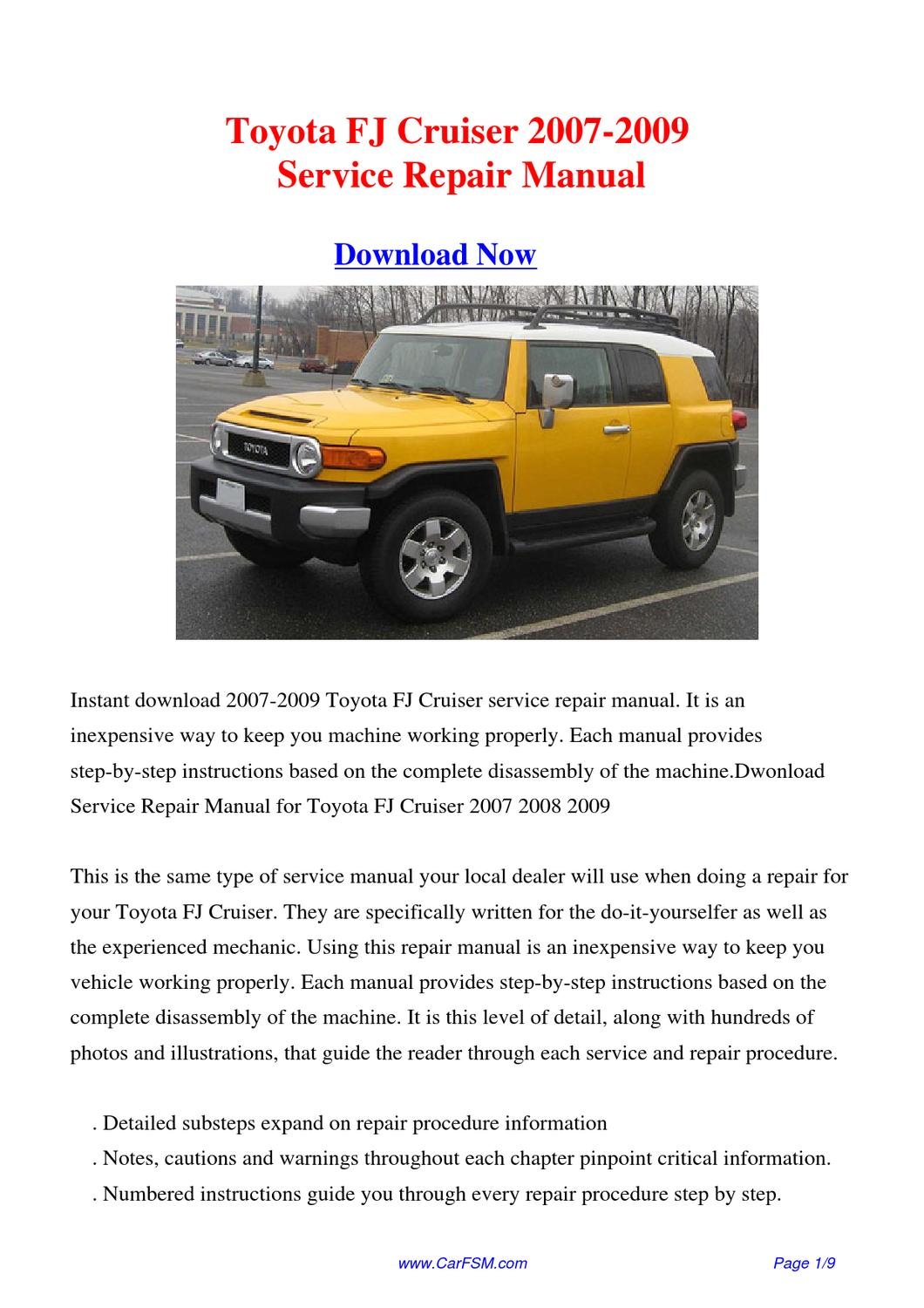 toyota fj cruiser 2007 2009 repair manual by gong dang issuu. Black Bedroom Furniture Sets. Home Design Ideas
