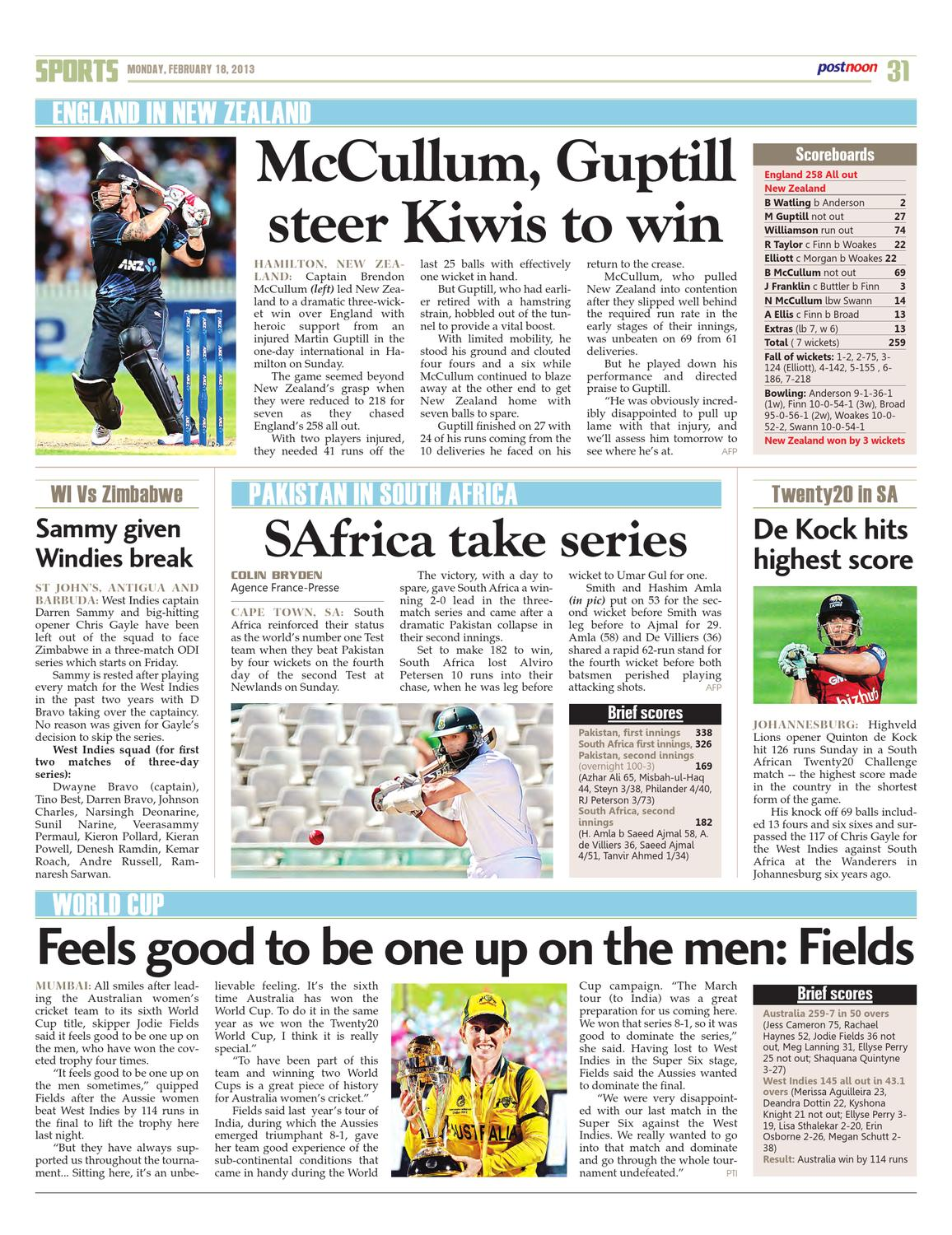 Postnoon E-Paper for february 18th 2013 by Scribble Media