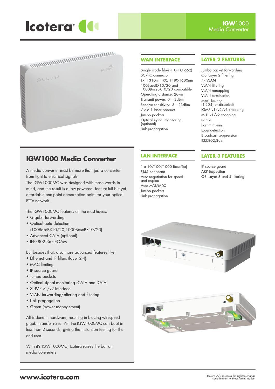 Icotera IGW1000MC datasheet by Kjaerulff 1 Digital A/S - issuu