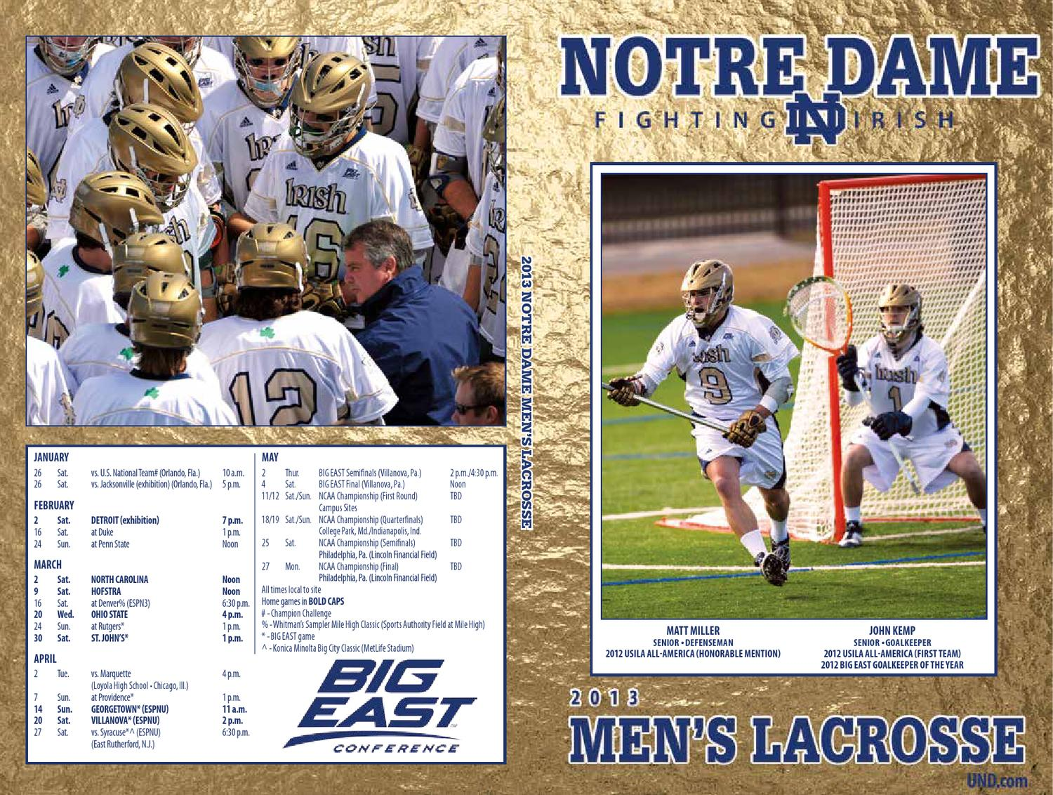 2013 University of Notre Dame Men's Lacrosse Media Guide by