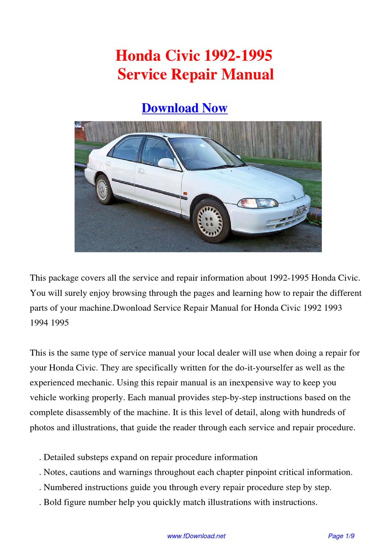 Honda civic 1992 1995 repair manual by fu juan issuu for Honda civic service