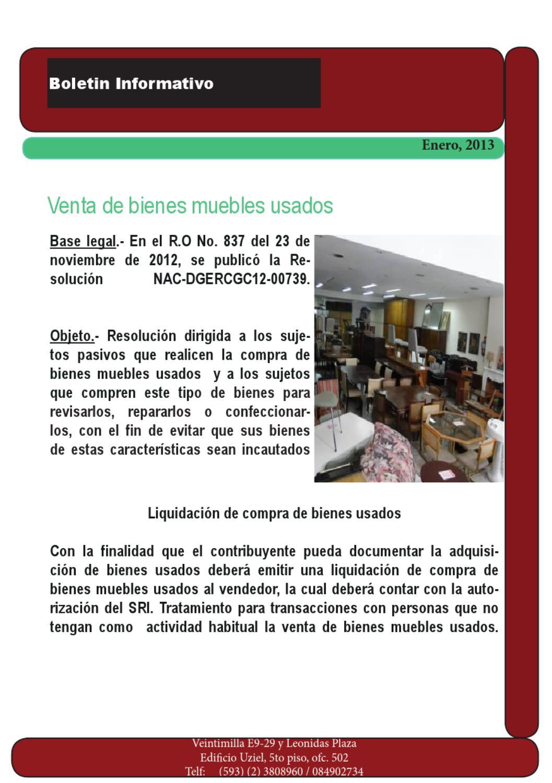 Venta de bienes muebles usados by seel advisory group issuu for Se compran muebles usados