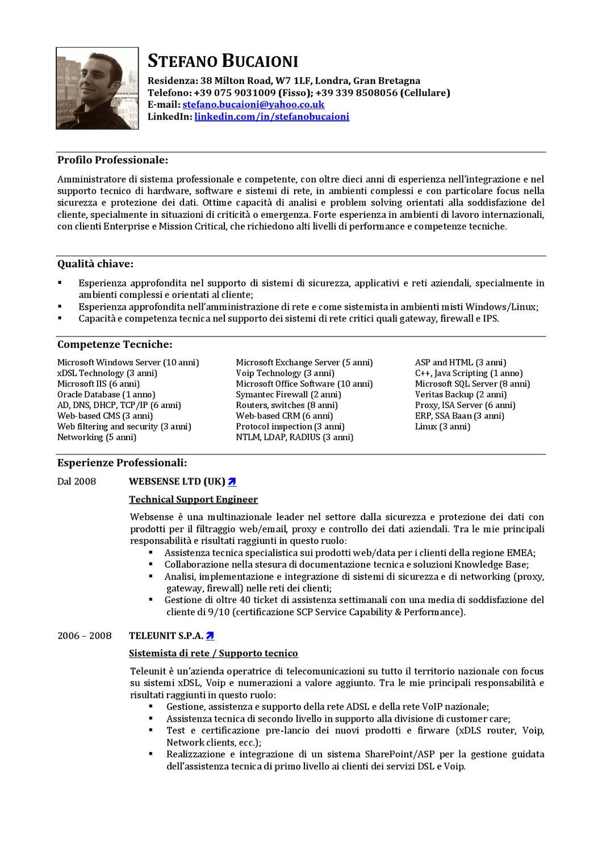 curriculum vitae amministratore di rete e sistemista