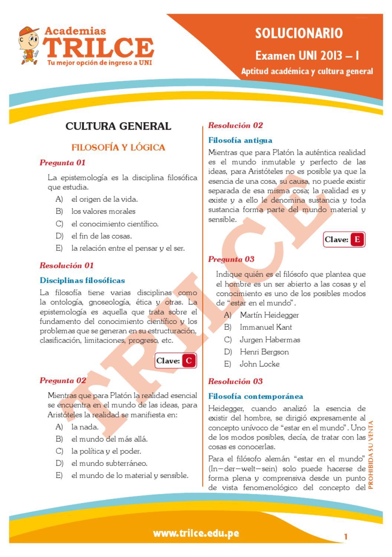 Examen De Admision Uni 2013 I 1era Parte By Ricardo A M Issuu