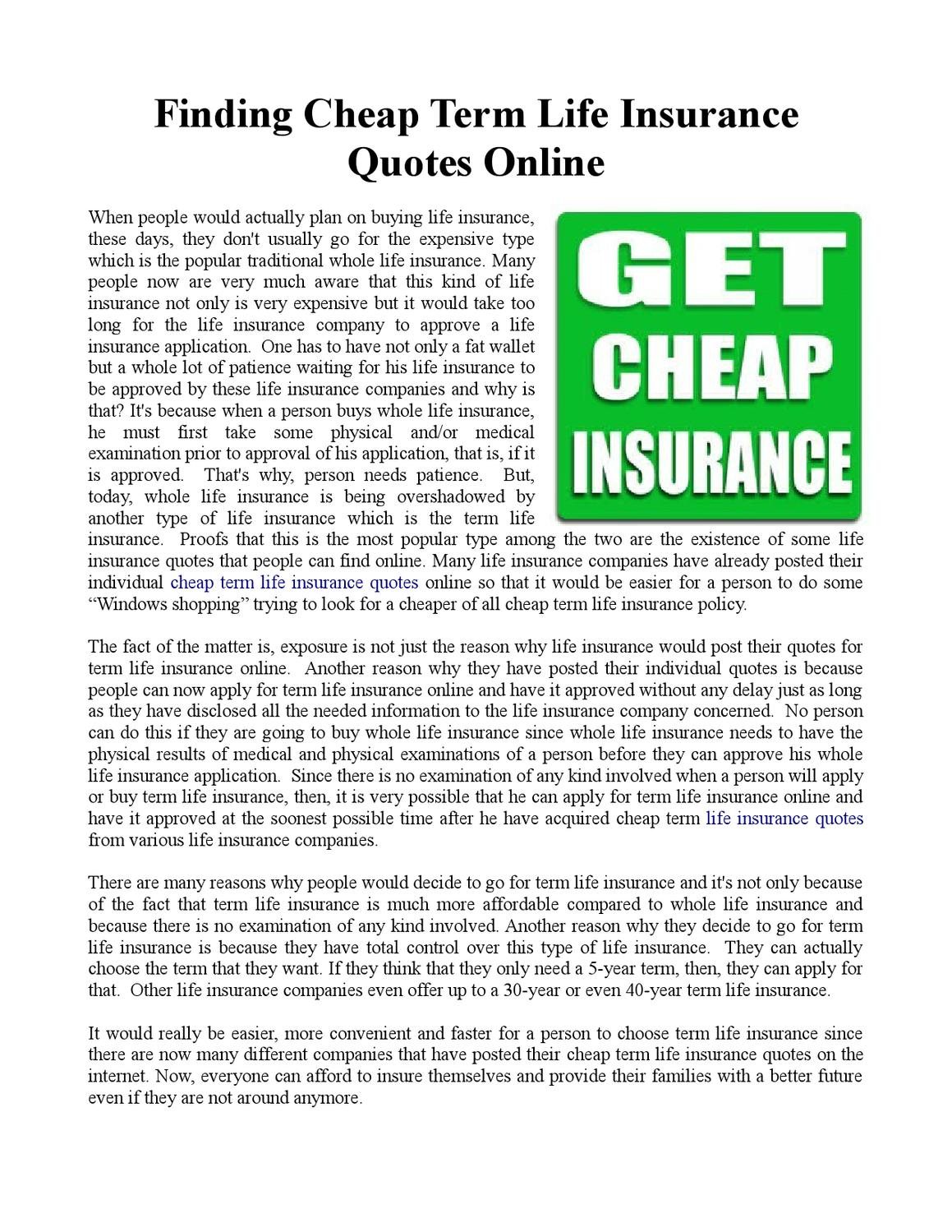 Cheap Insurance Life Quote Term Finding Cheap Term Life Insurance Quotes Onliner J  Issuu