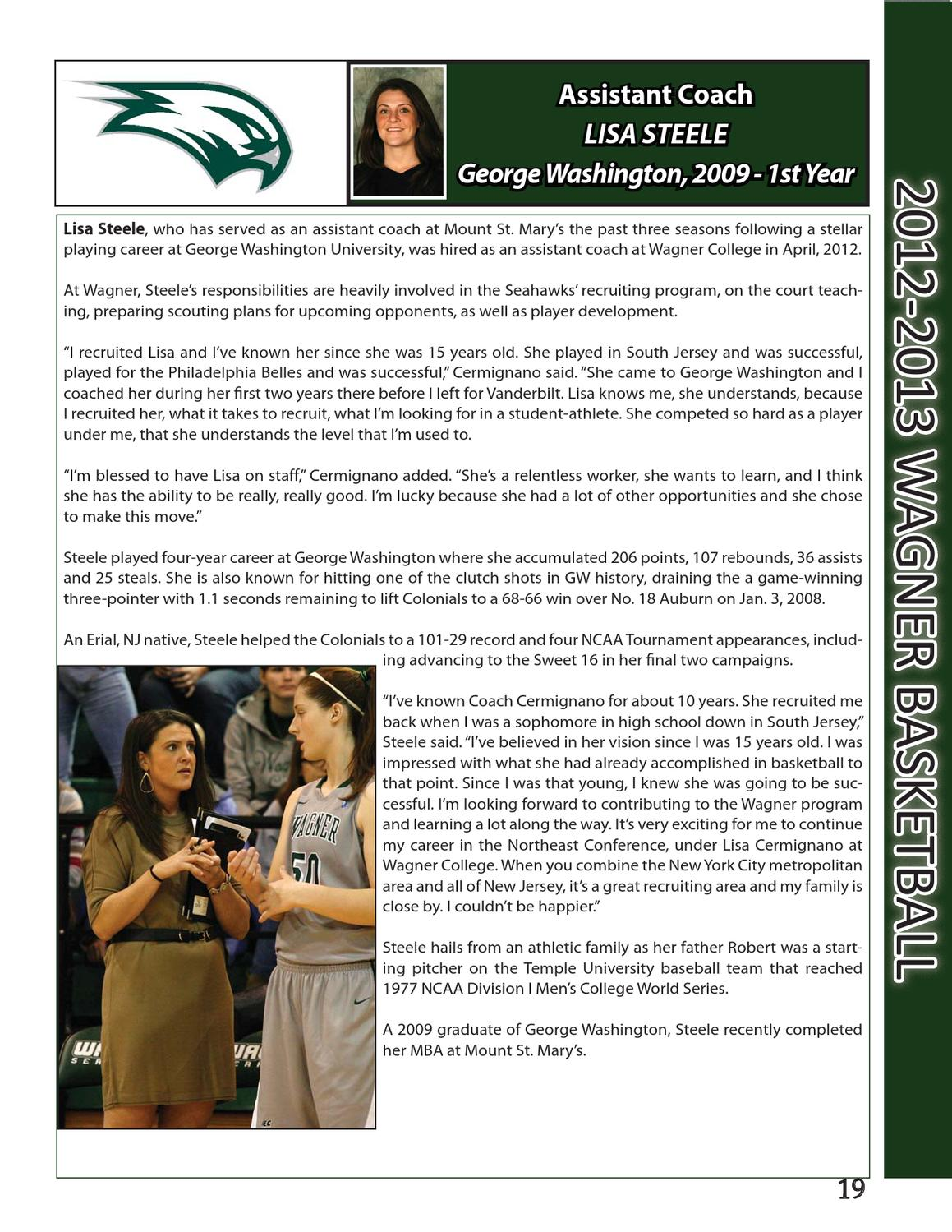 2012-2013 Wagner Women's Basketball Yearbook by Wagner College