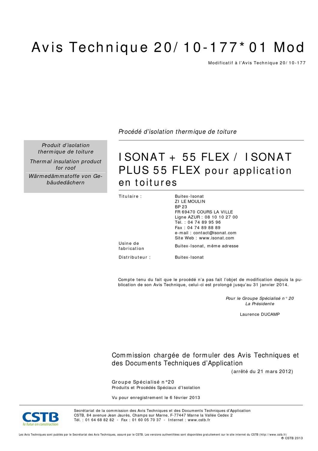 Avis technique cstb isonat plus toitures prolongation by for Isonat plus 55 flex