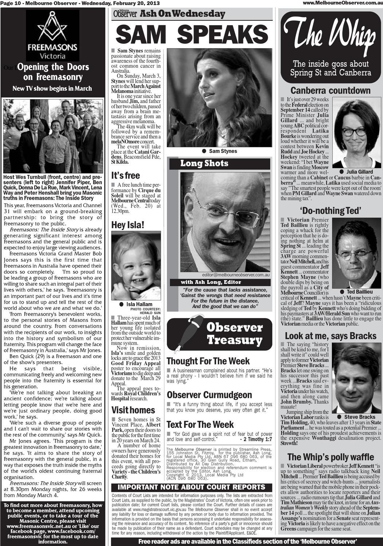Melbourne Observer  130220A  February 20, 2013  Part A