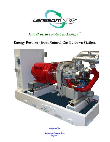 Energy Recovery From Natural Gas Letdown Stations
