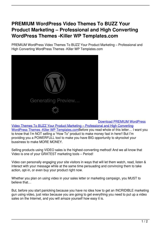 PREMIUM WordPress Video Themes To BUZZ Your Product Marketing