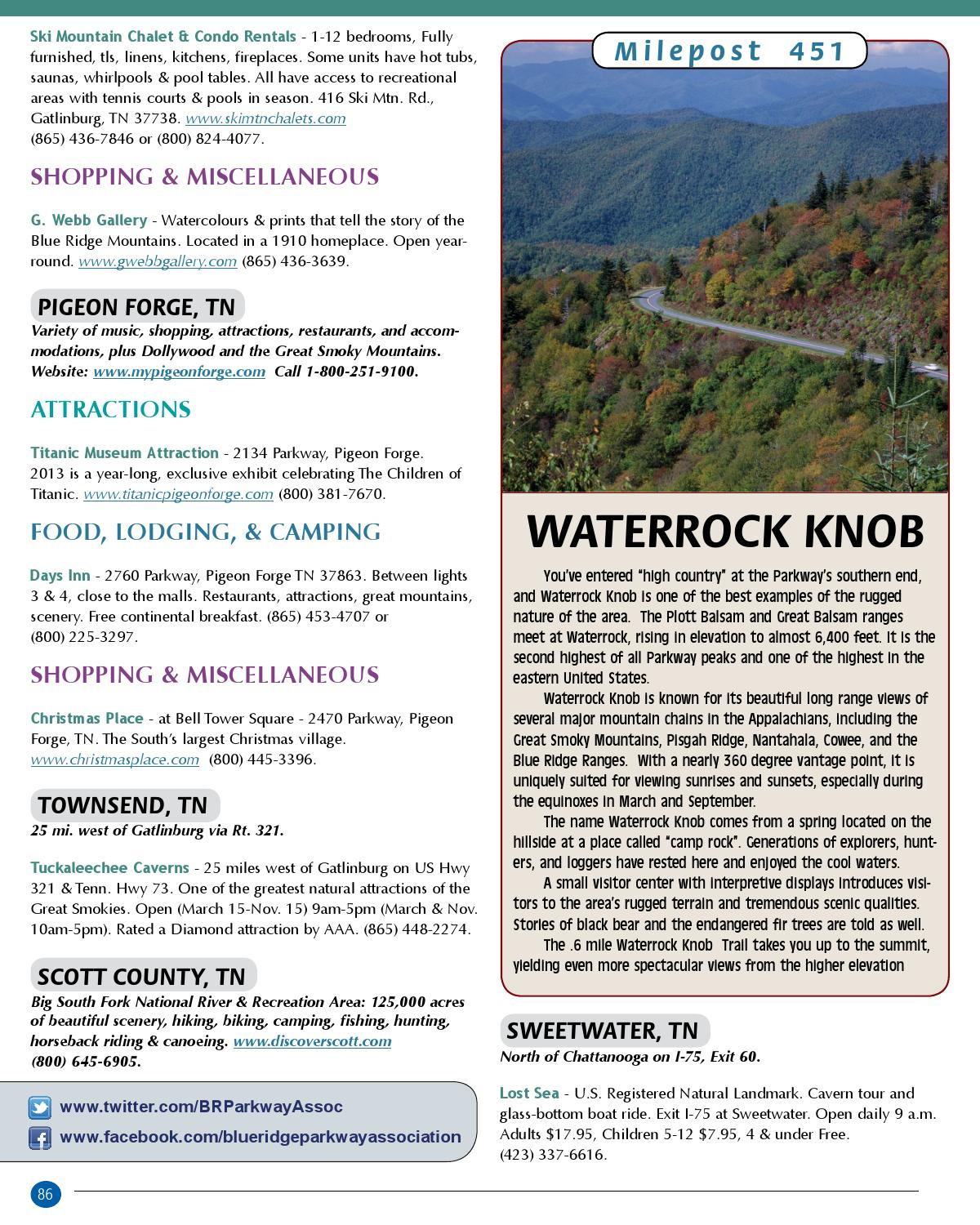 Blue Ridge Parkway Directory & Travel Planner - 64th Edition by Blue ...