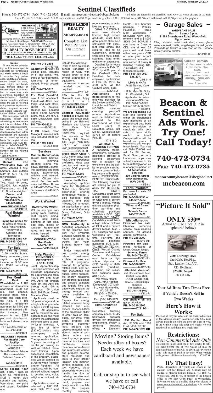 Classifieds 2 21 13 By Monroe County Beacon Issuu