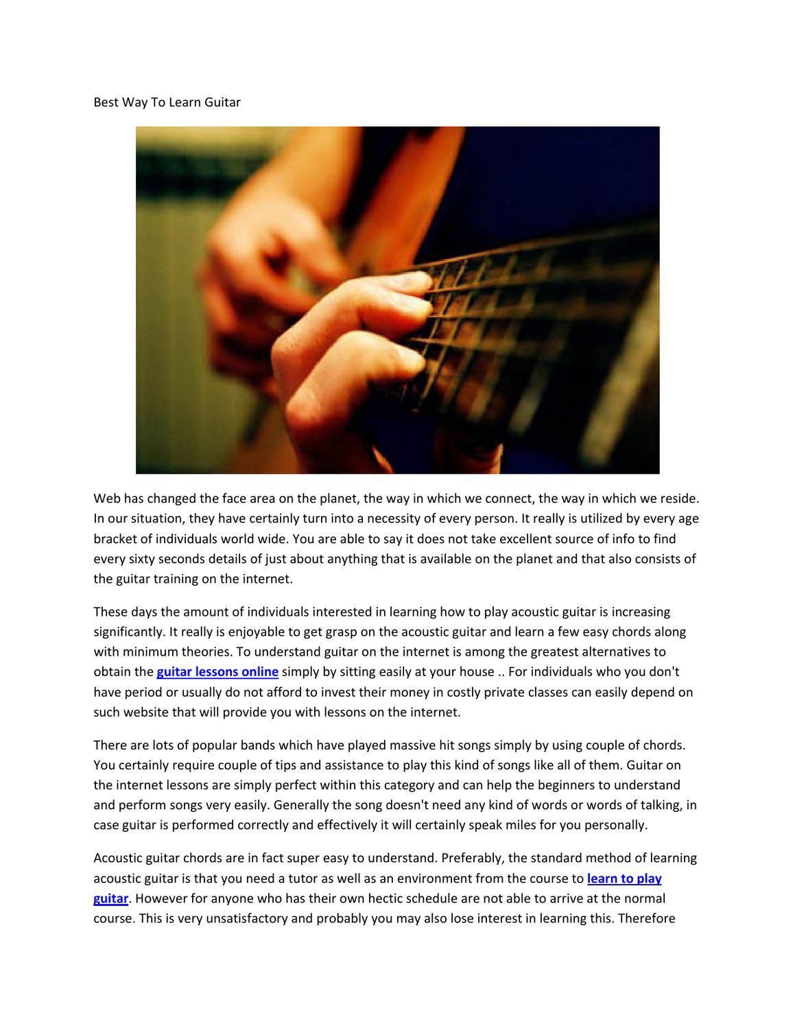 Best Way To Learn Guitar By Joe Landers Issuu