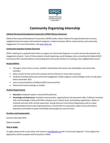 Community Organizing Internship Oakland Planning U0026 Development Corporation  (OPDC) Mission Statement Oakland Planning And Development Corporation  (OPDC) ...