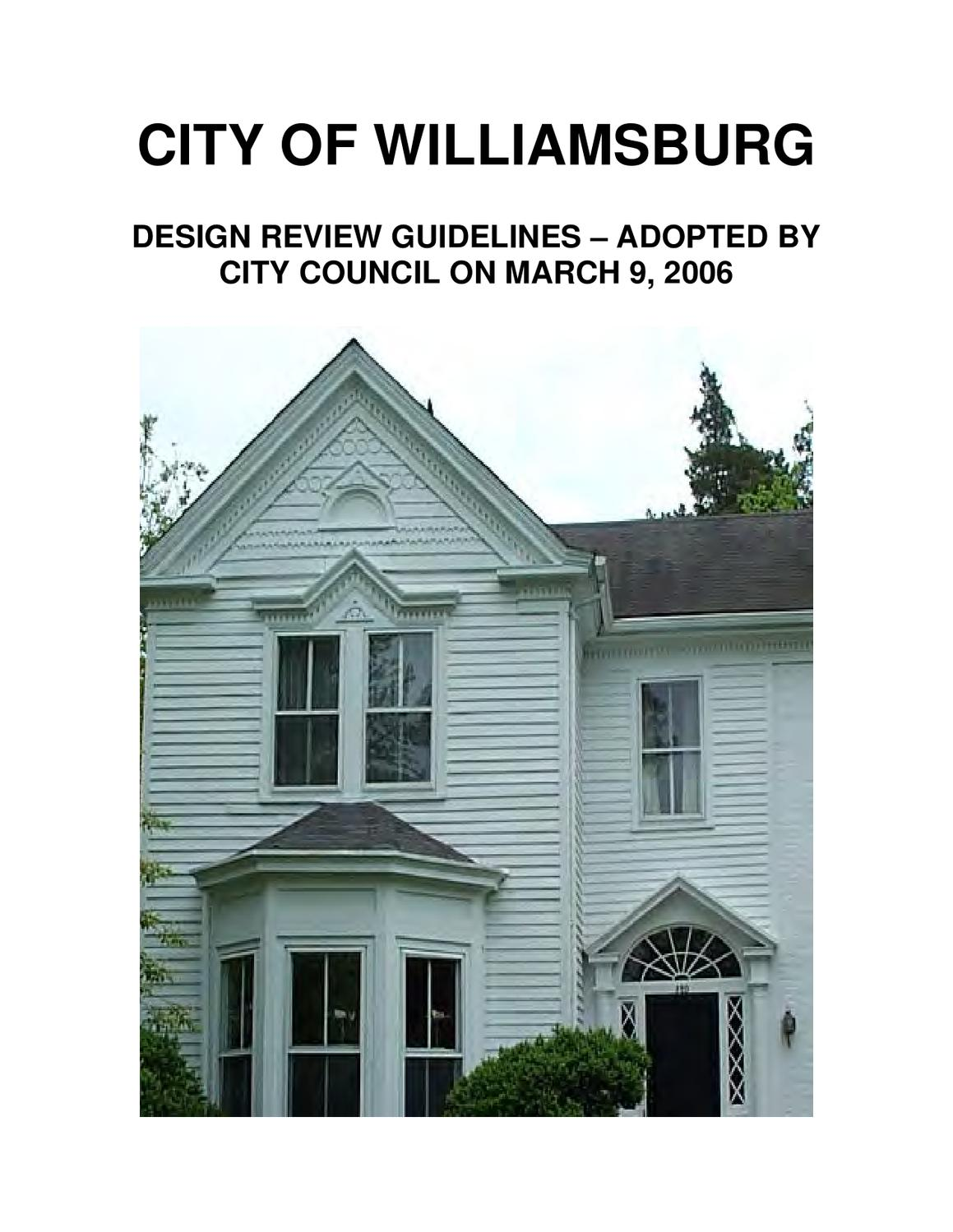 Williamsburg Architectural Design Review Guidelines By