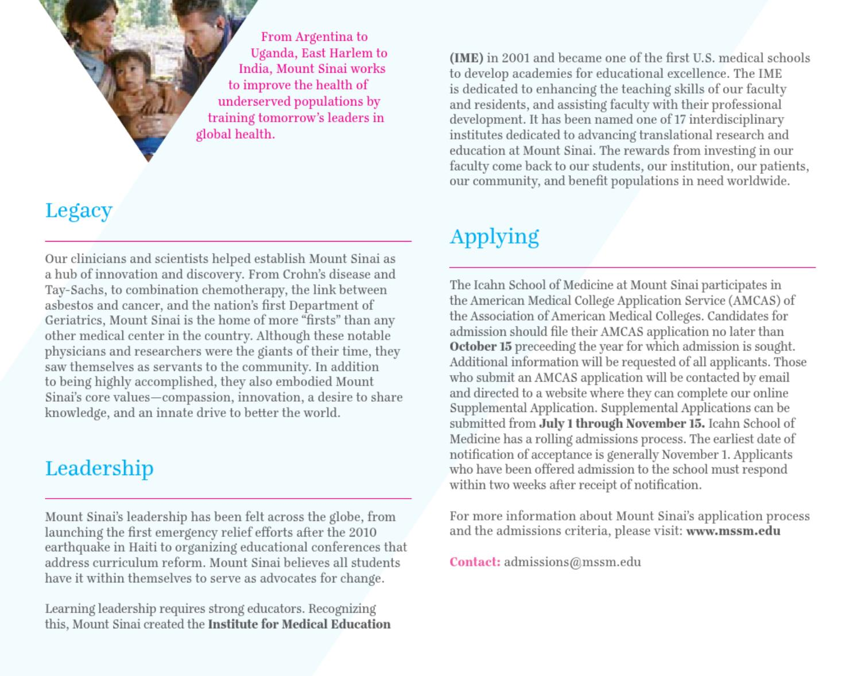 Icahn School of Medicine at Mount Sinai Admissions Brochure