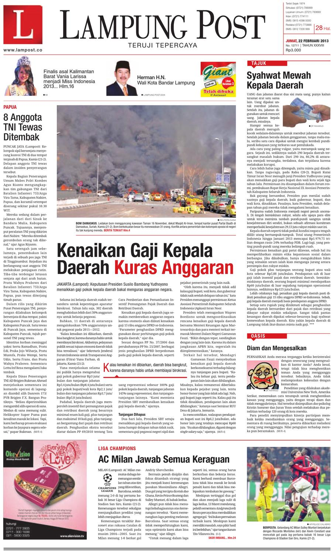 Lampungpost Edisi 22 Februari 2013 By Lampung Post Issuu Produk Ukm Bumn Jamu Kunyit Asam Seger Waras