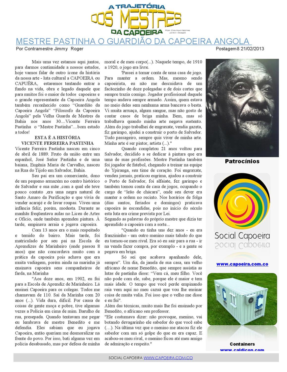 Mestre Pastinha O Guardião Da Capoeira Angola By Social