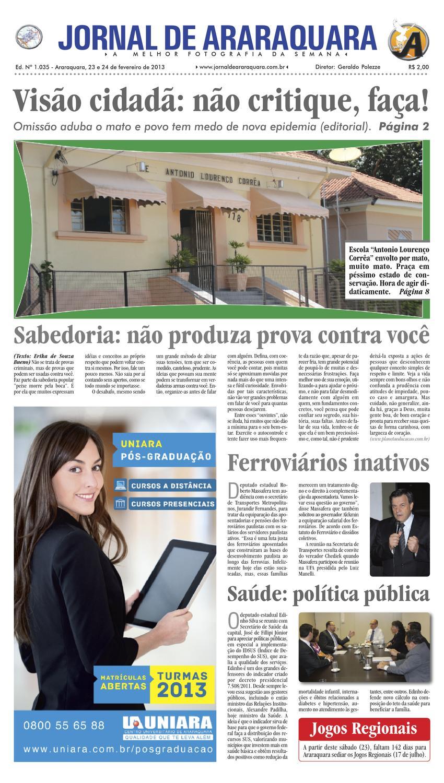 ca1f1782fc1 Jornal de Araraquara - ED. 1035 - 23 e 24 de Fevereiro de 2013 by Jornal de  Araraquara - issuu