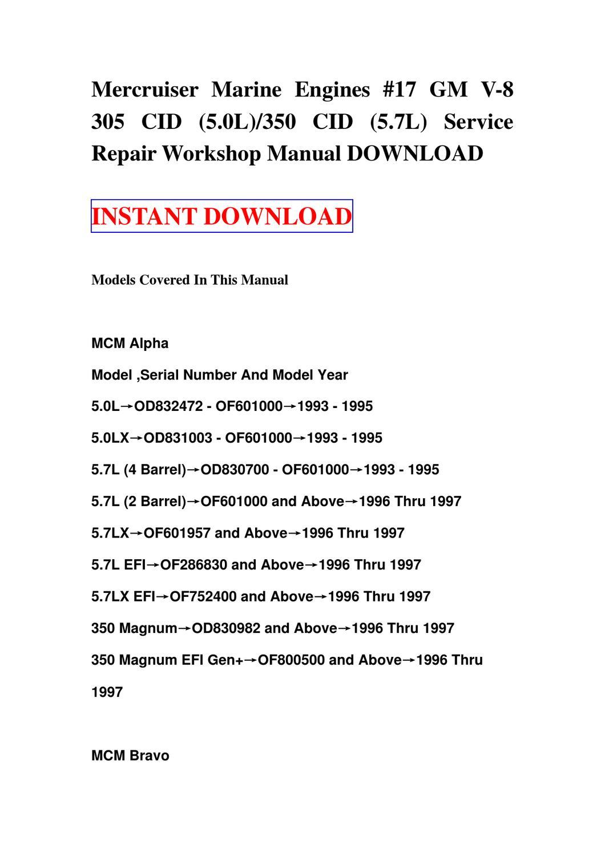 Mercruiser Marine Engines #17 GM V-8 305 CID (5.0L)350 CID (5.7L) Service  Repair Workshop Manual by fgsd sdf - issuu