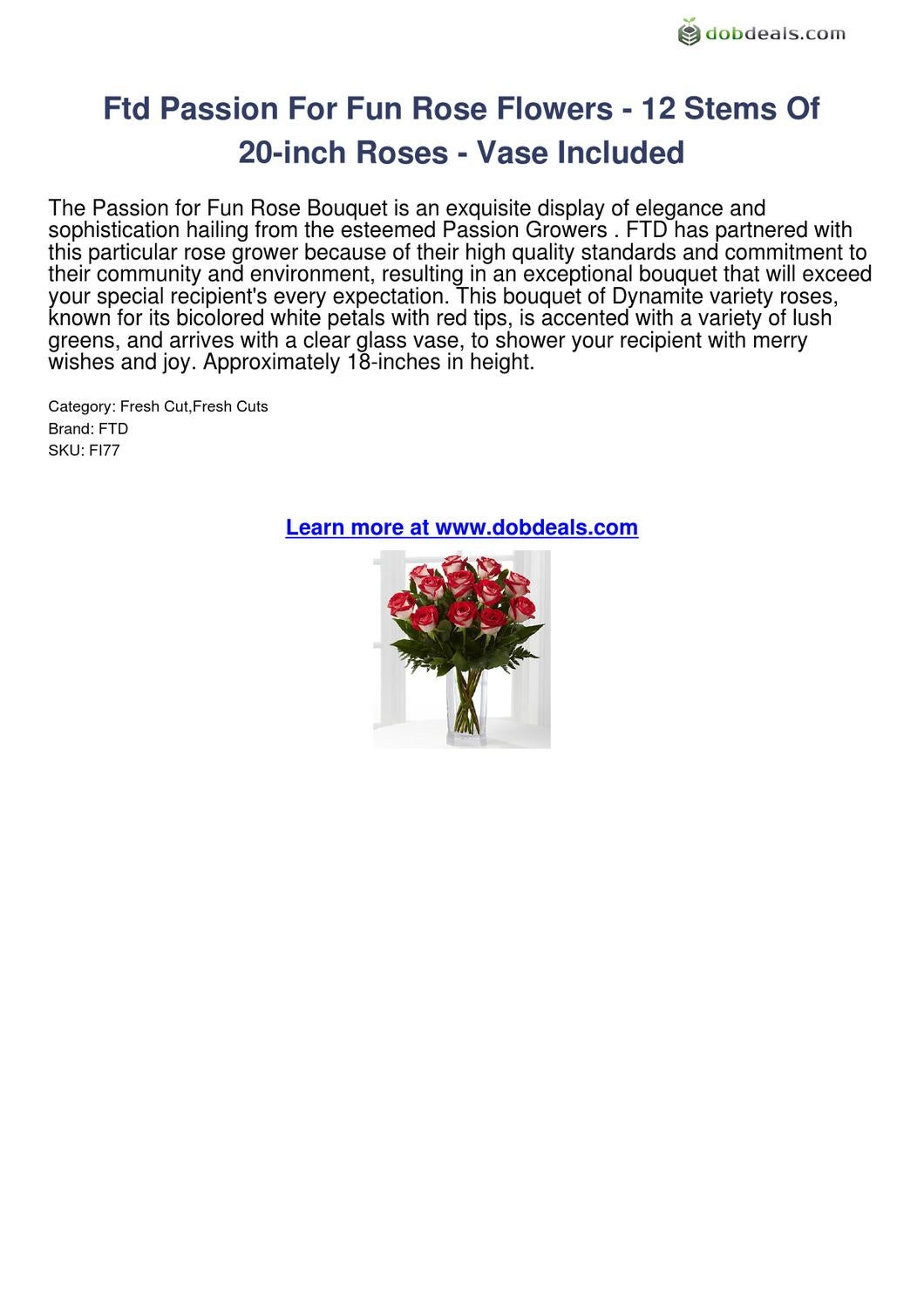 Ftd Passion For Fun Rose Flowers-12 Stems Of 20-inch Roses