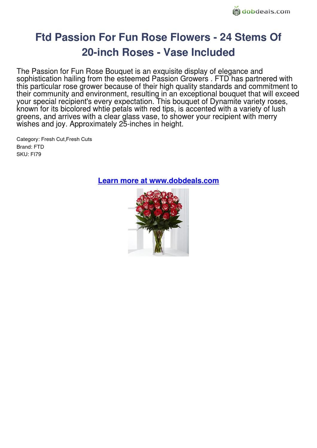 Ftd Passion For Fun Rose Flowers-24 Stems Of 20-inch Roses