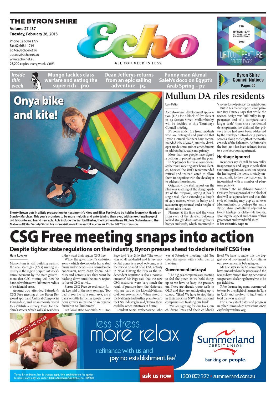 Byron Shire Echo U2013 Issue 27.37 U2013 26/02/2013 By Echo Publications   Issuu